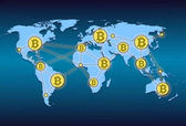 World map with world network and crypto currency bitcoin