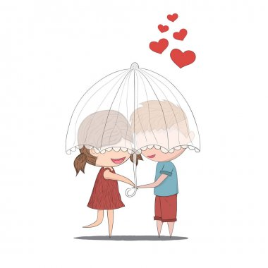 Cute cartoon doodle lovers a boy and a girl under umbrella.cute Valentine's Day card, drawing by hand vector clip art vector