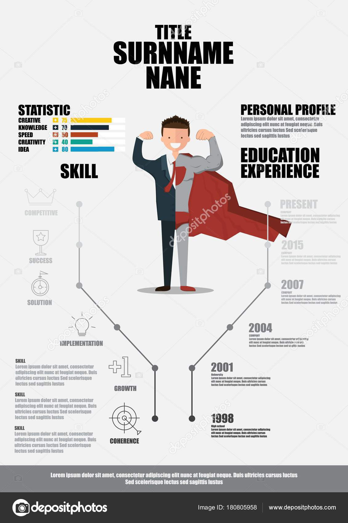 Plano Reanudar Con Infografía Curriculum Vitae Vector — Archivo ...