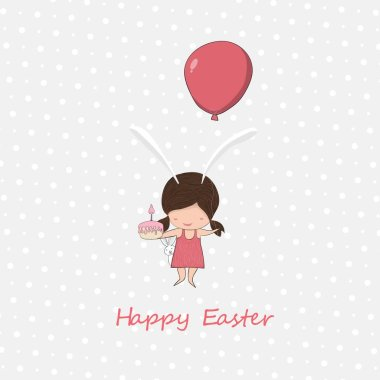 The girl holds the cake and floats up the balloon today easter eggs day vector design