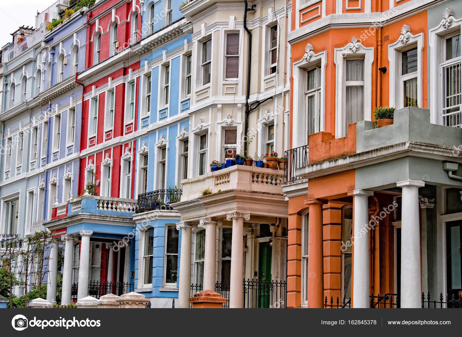 Portobello Road London Street Colorful Buildings Stock Photo