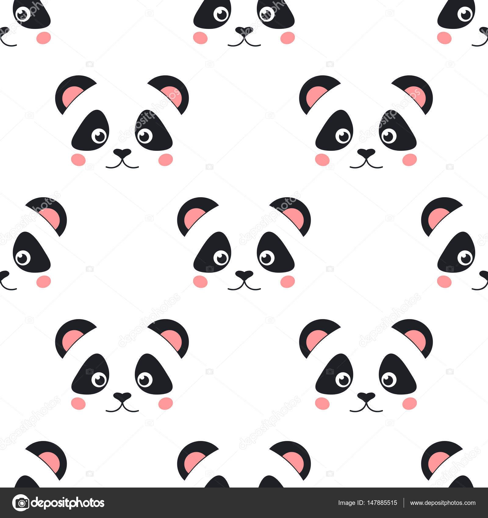 Excepcional Desenho animado panda rosto padrão — Vetores de Stock © El4anes  NS34