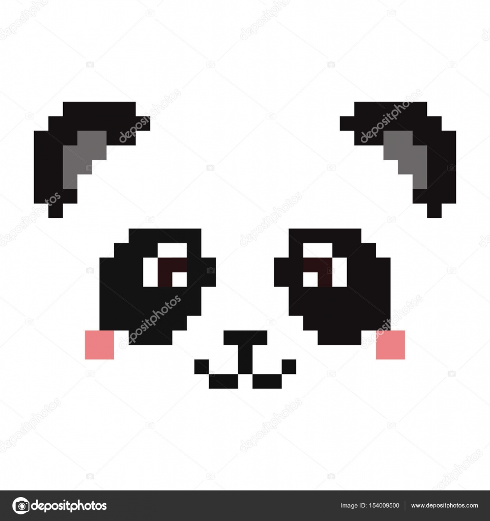 Cute Panda Face Isolated On White Background Pixel Art Stock Vector
