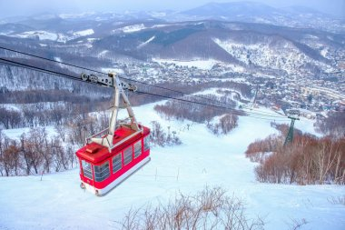 Tenguyama ropeway transport from the base to the top of Tenguyama mountain in winter season