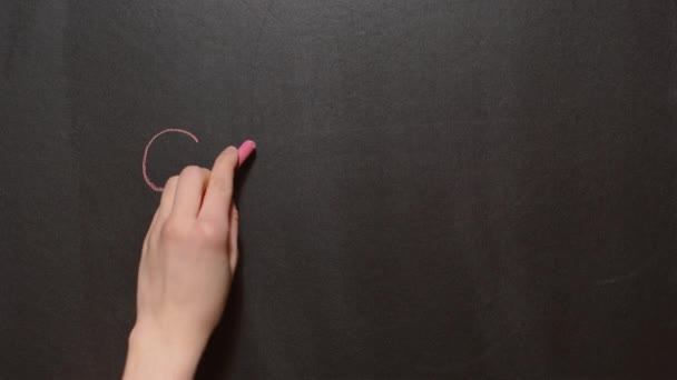 Stop. A left female hand writes the word Stop by red chalk on a black board