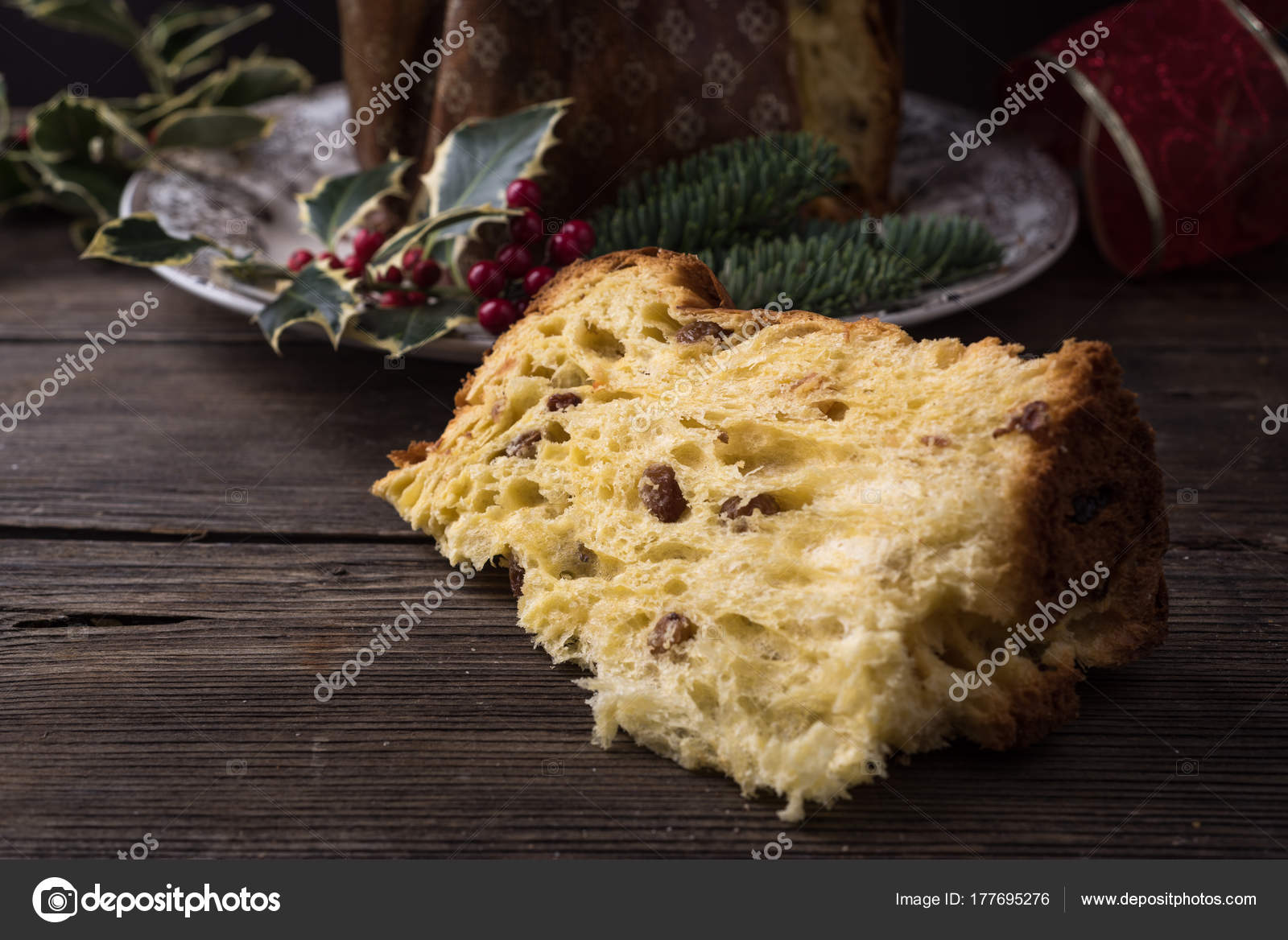 Traditionelle Italienische Weihnachten Kuchen Panettone Stockfoto