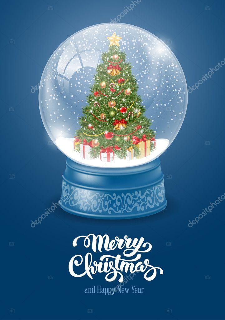 Schneekugel mit Weihnachtsbaum — Stockvektor © Pazhyna #128596380