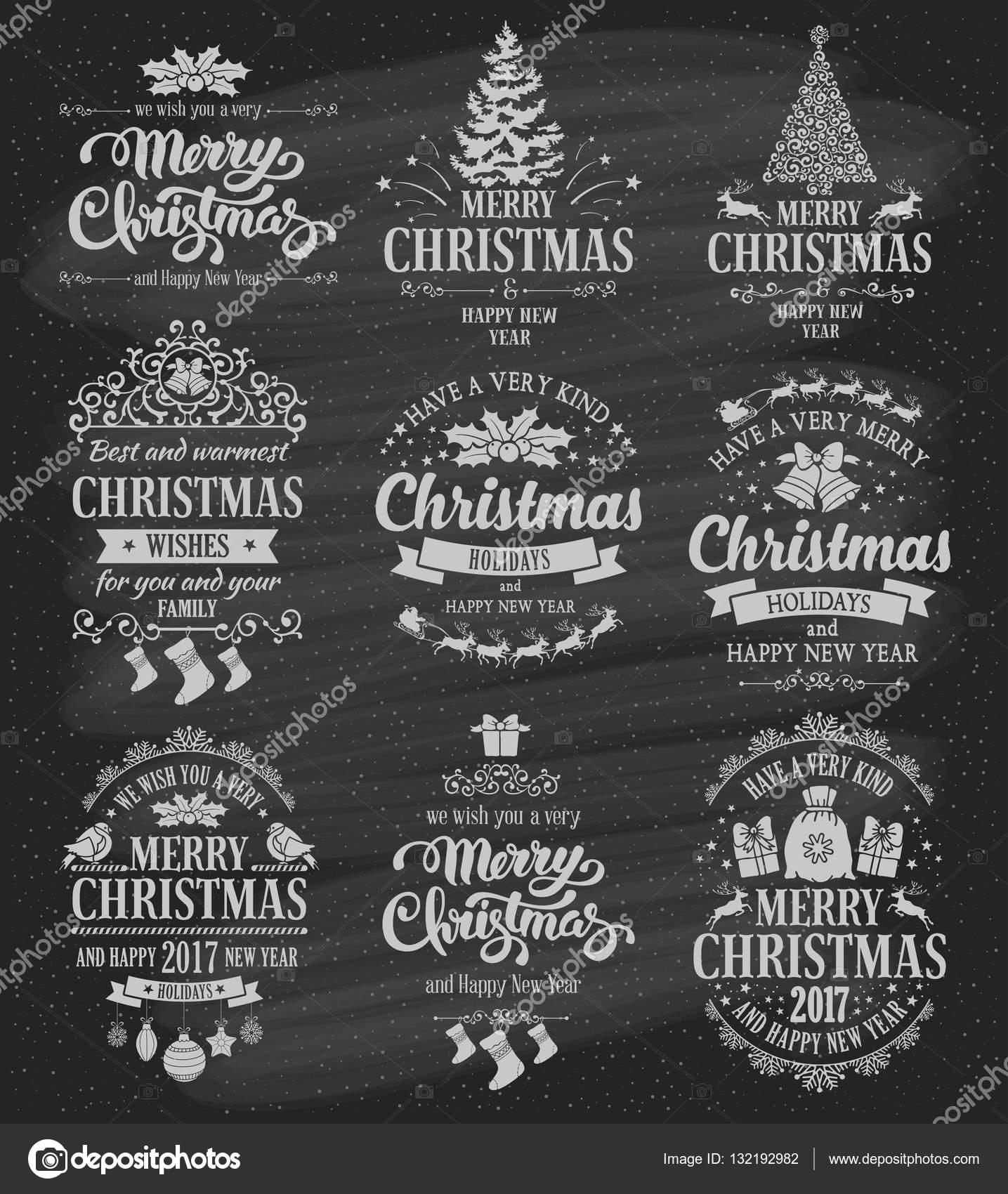 Disegni Di Natale Vettoriali.Set Di Disegni Distintivi Di Natale Vettoriali Stock