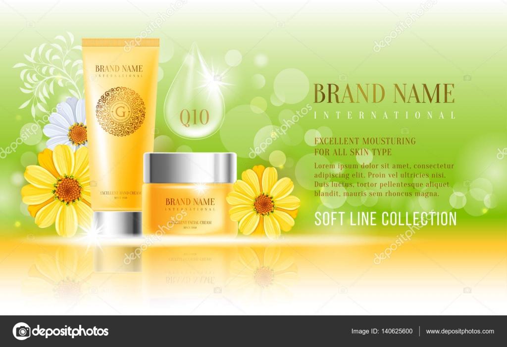 Plantilla de diseño de anuncio de cosméticos — Archivo Imágenes ...