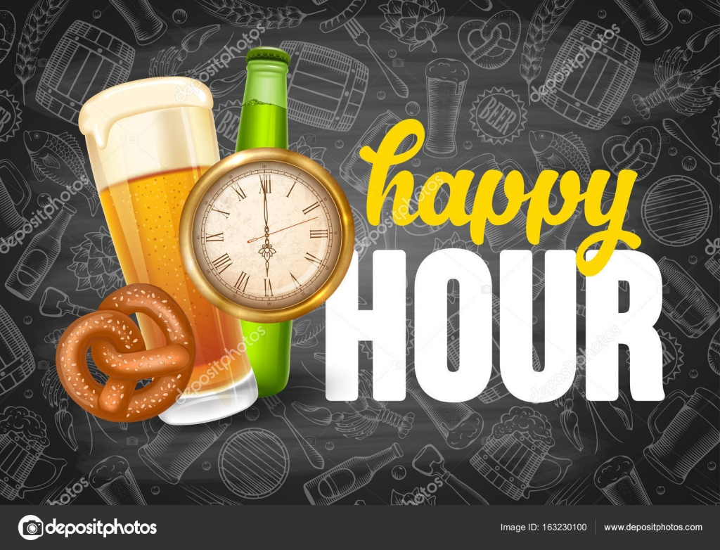 Happy Hour Poster Template Stock Vector 169 Pazhyna 163230100