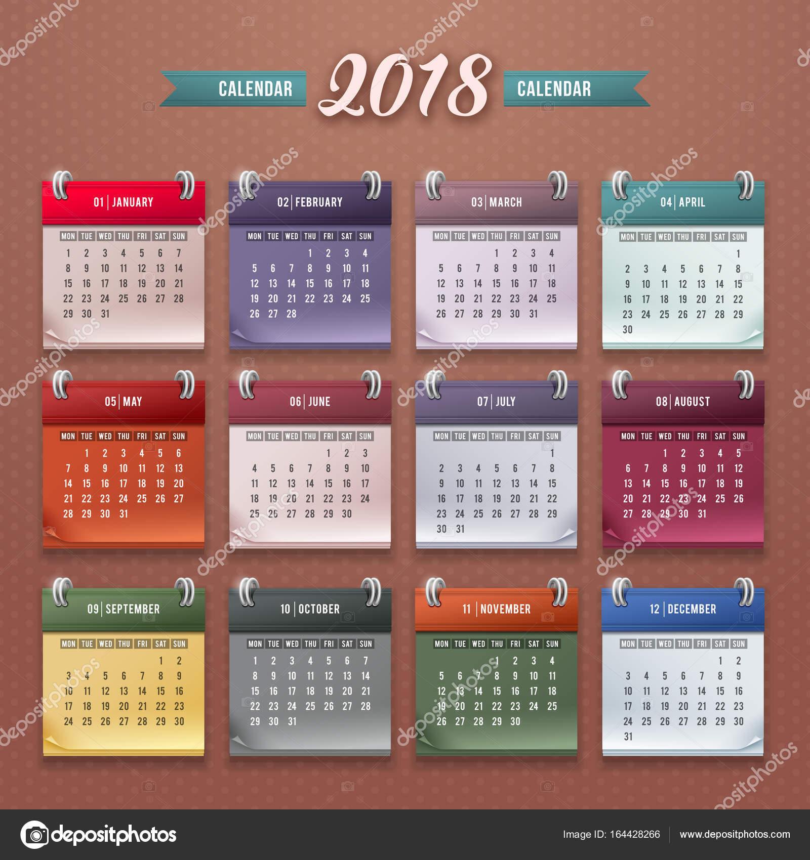 Kalendervorlage 2018 — Stockvektor © Pazhyna #164428266