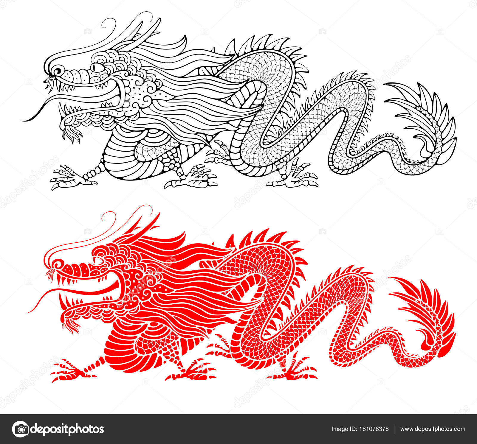 Chinese Dragon Drawing Stock Vector C Pazhyna 181078378