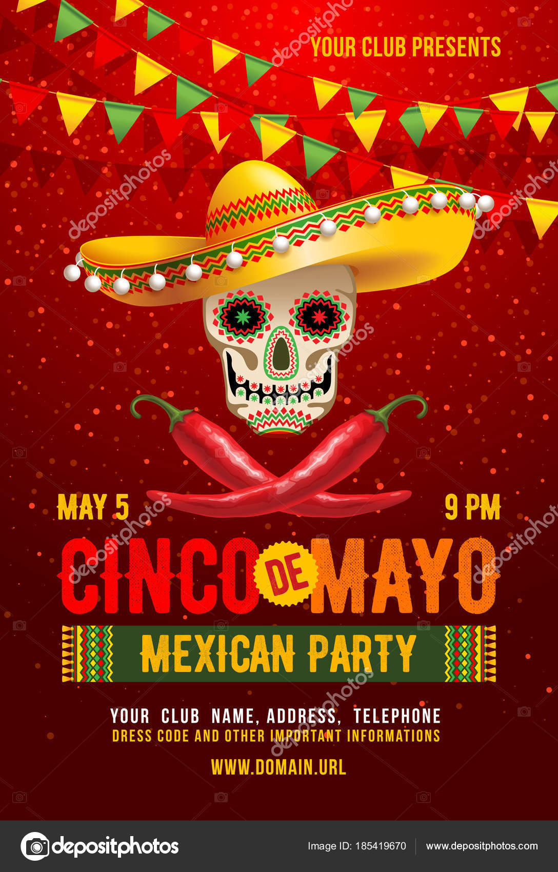 Cinco de mayo poster stock vector pazhyna 185419670 cinco de mayo poster or flyer design template with cheerful decorated skull in sombrero and red peppers symbols of holiday vector illustration kristyandbryce Gallery