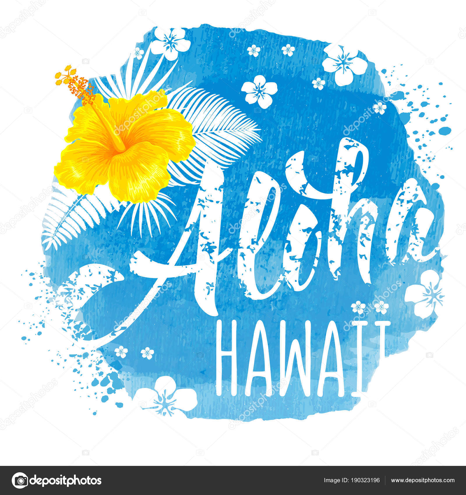 Aloha Hawaii Hand Drawn Lettering And Hibiscus On Blue Watercolor Backdrop Hawaiian Language Greeting Vector Illustration Isolated White Background