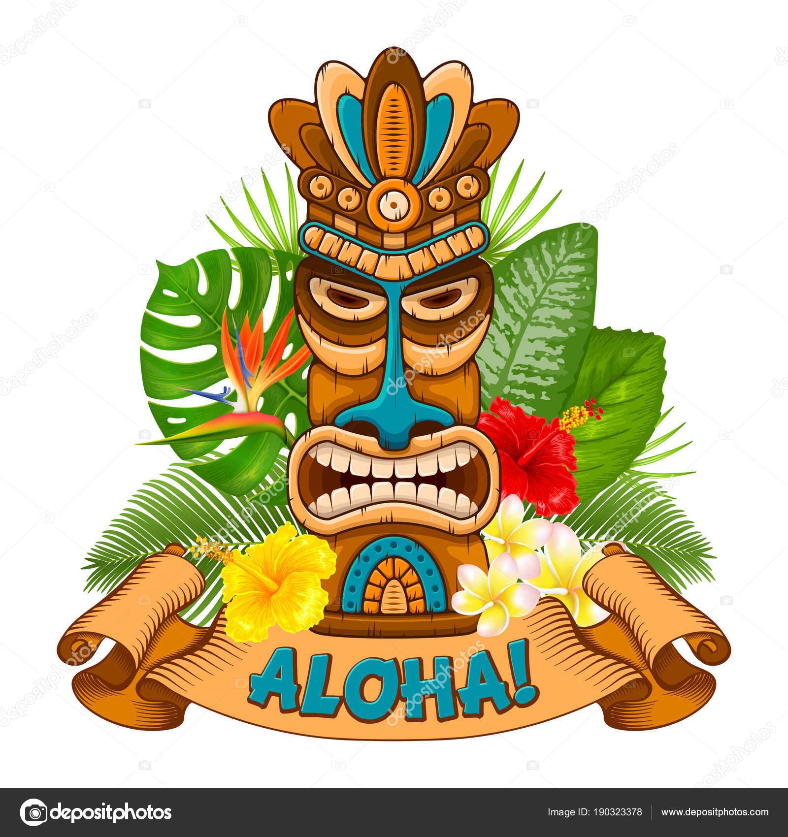 Maschera di legno tiki ed insegna di bar vettoriali for Tiki hawaiano