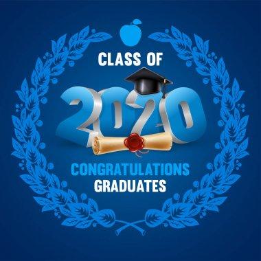 Congratulations graduates class of 2020. Emblem with volumetric digits 2020, congratulatory text, graduation cap and diploma. Layout in blue colors, decorated with laurel wreath. Vector illustration. clip art vector