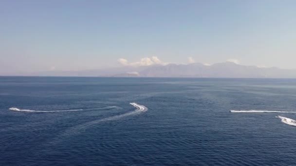 Aerial view of boats in the Mediterranean sea, Crete, Greece