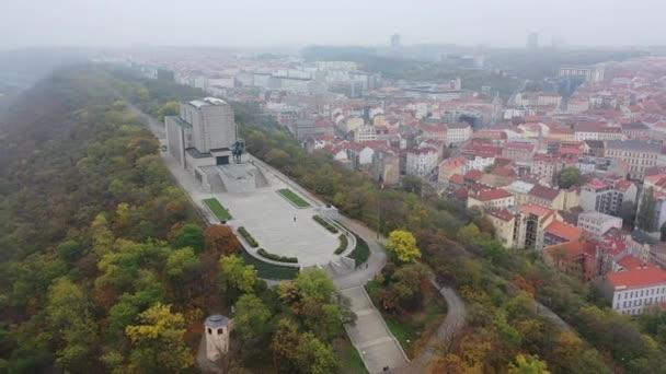 Letecký pohled na Národní památník na vrchu Vítkov - Národní muzeum památníku a dějin války, Praha