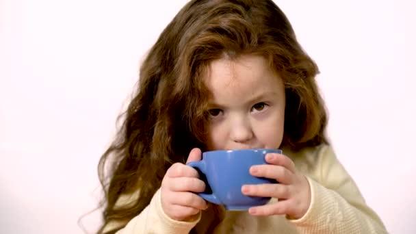 Six Year Old Sweet Girl Just Drank Tomato Juice Lips Stock Video
