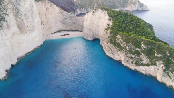 Picturesque aerial view of shipwreck beach Navagio on Zakynthos island in Greece