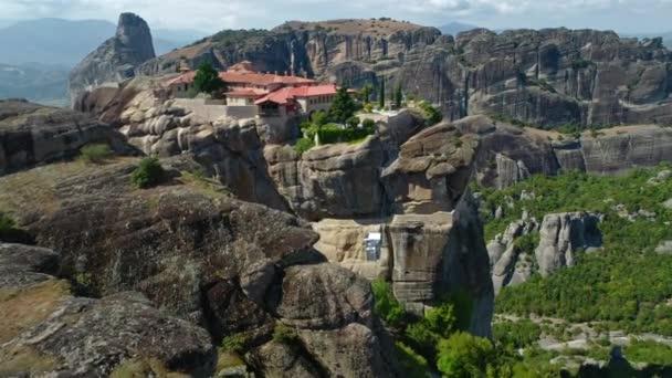 Letecký snímek meteoru, skalní útvar ve středním Řecku, hostování, jeden z největších komplexů východní ortodoxní kláštery