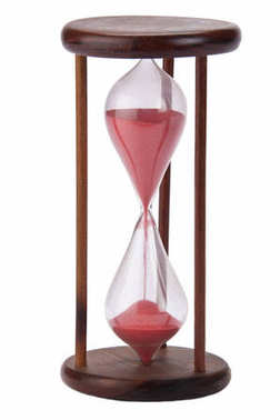 An egg timer is a small version of an hourglass that is used to time three minutes when cooking eggs stock vector