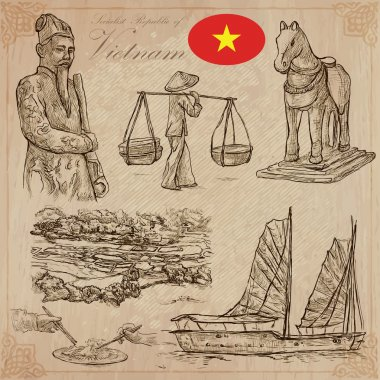 Vietnam. Pictures of Life. Vector pack. Hand drawings.
