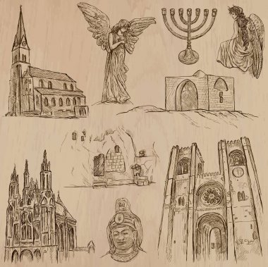 Religion around the World - Vector set. Hand drawn collection.