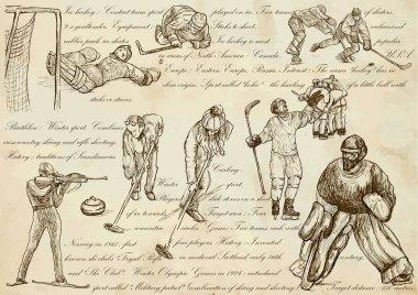 Winter sports - An hand drawn vector illustrations, line art