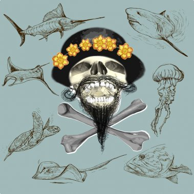 bearded pirate skull and underwater life - hand drawn vector