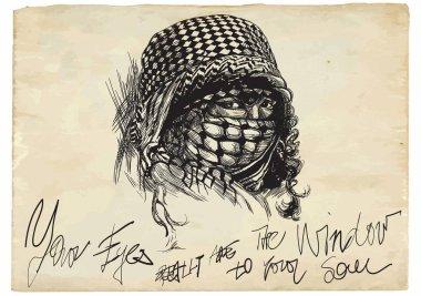 An muslim woman with big eyes, wearing a niqab, portrait. Hand d
