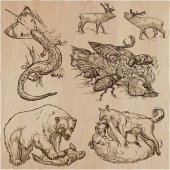 Állatok akcióban, ragadozók - kézzel rajzolt vektoros illusztráció
