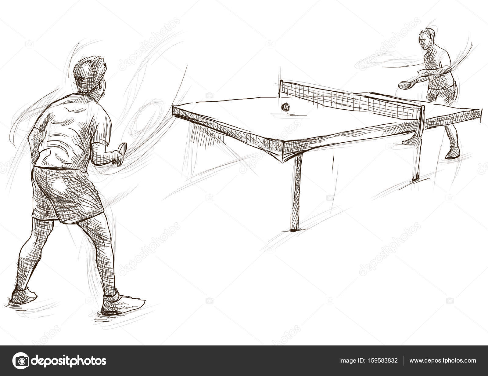 Sport, Table tennis, Ping-Pong. An hand drawn, line art, picture 6