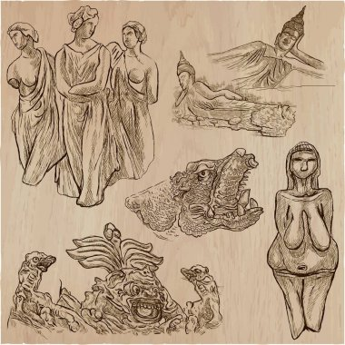 old and native art, artworks - an hand drawn vector pack, freehands