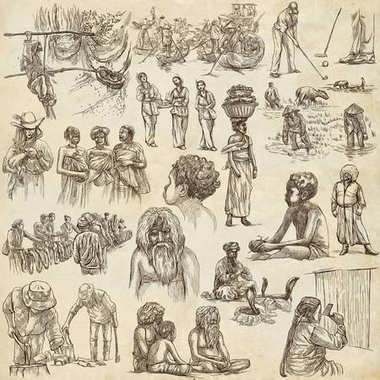 People - An hand drawn pack. Collection of Natives around the Wo