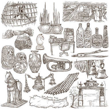 Bric a brac, objects - an hand drawn pack. Freehand sketching, f