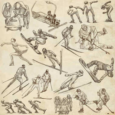 Winter Sport. An hand drawn full sized pack. Hand drawing on pap