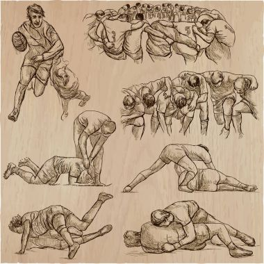 RUGBY - An hand drawn vector collection. Line art pack of some s