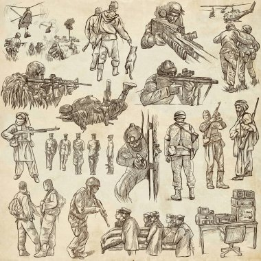 Soldiers, Army - An hand drawn collection. Warriors on old paper