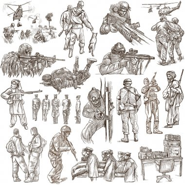 Soldiers, Army - An hand drawn collection. Warriors on white, is
