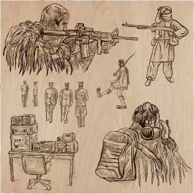 Soldiers, Army - An hand drawn vector collection. Warriors aroun