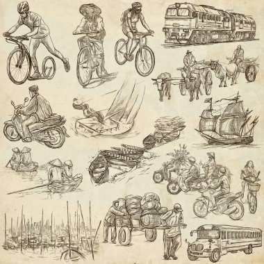 Transport, Transportation around the World - An hand drawn colle