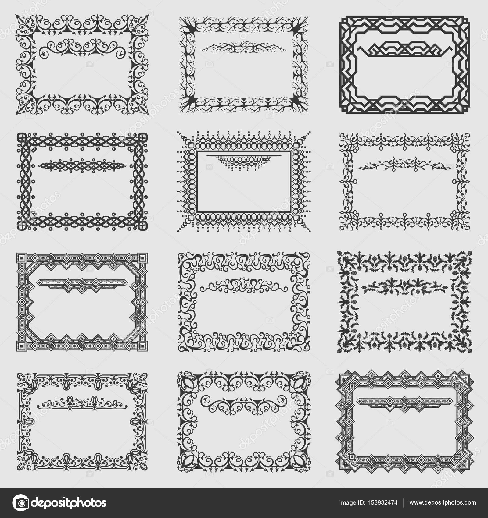 Kollektion von Vektor-Quadrat Vintage-Rahmen — Stockvektor © 0mela ...
