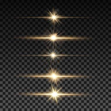 Set of vector horizontal lighting sparks on transparent background