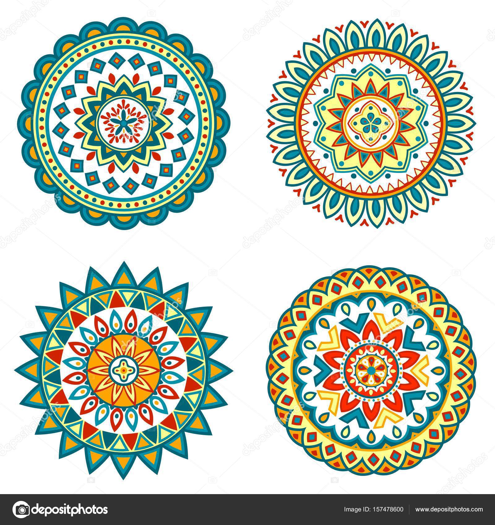 Collection Of Bright Colorful Geometric Round Ethnic Mandalas
