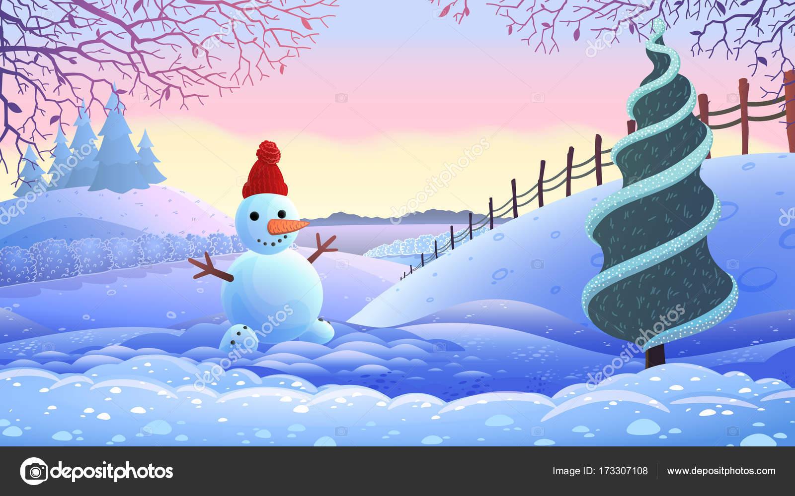Kış Tatil Manzara Vektör çizim Stok Vektör 0mela 173307108