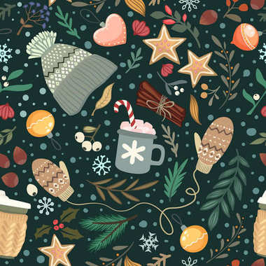 Seamless vector cozy winter pattern