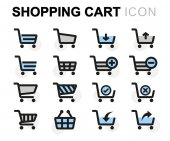 Vektor rovinu nákupního košíku ikony nastavit