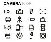 Vektorové čáry fotoaparát ikony nastavit
