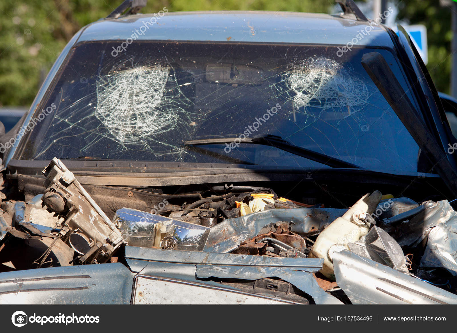 Car body side damage after an road traffic accident. — Stock Photo ...